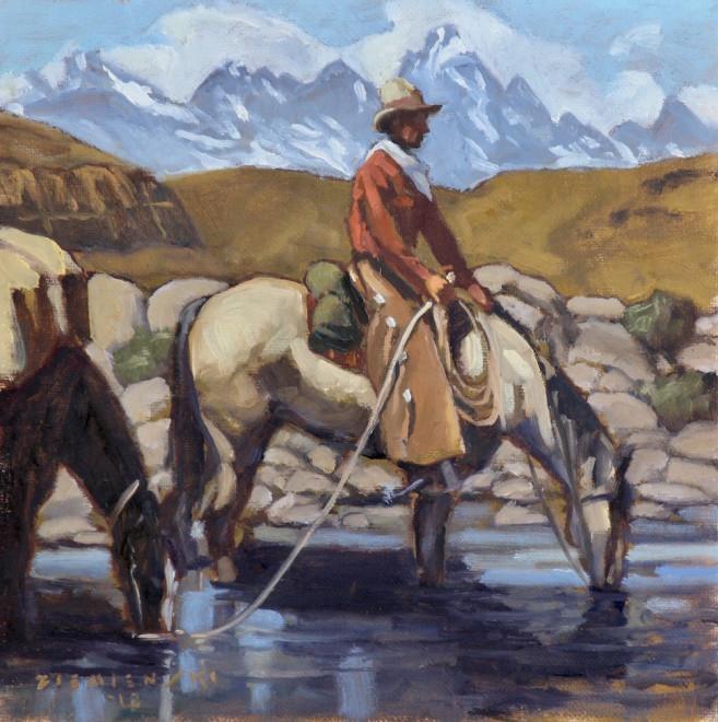 Dennis Ziemienski, Refreshing by a Mountain Stream