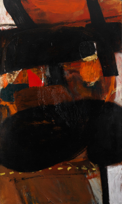 "<span class=""artist""><strong>Albert Irvin RA</strong></span>, <span class=""title""><em>Black Moves</em>, 1964</span>"