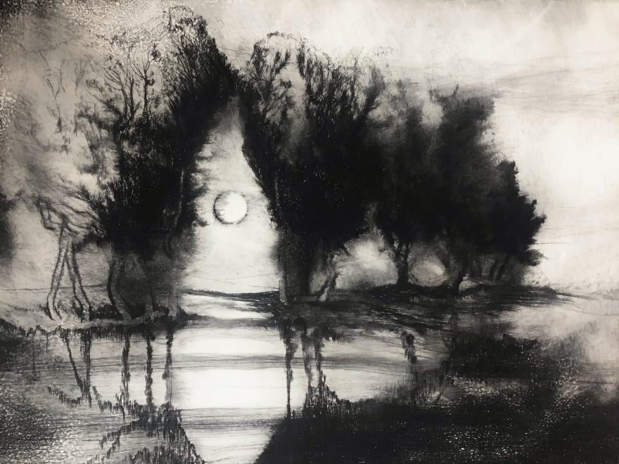 March Moon, Offham near Arundel, Sussex. 2021.