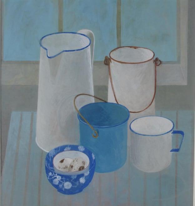 Enamel Kitchenware and Blue Bowl