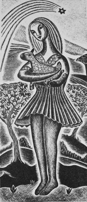 Girl Holding A Lamb