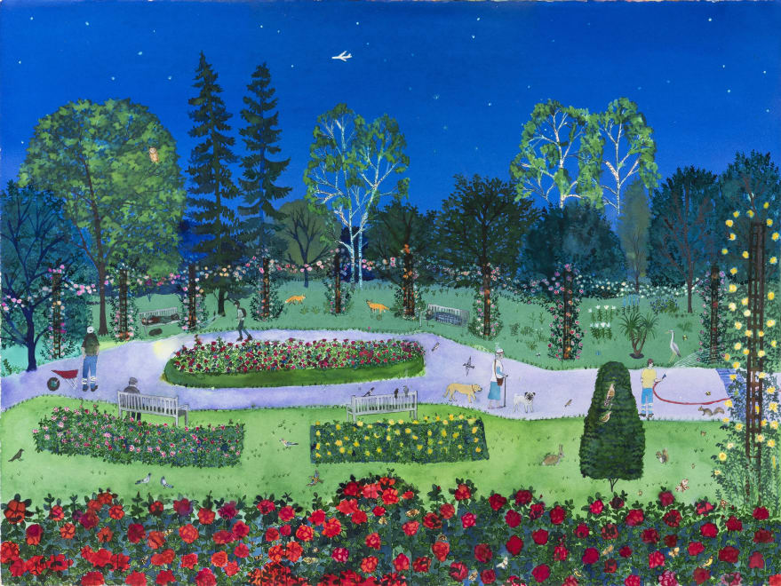Rose Garden at Night