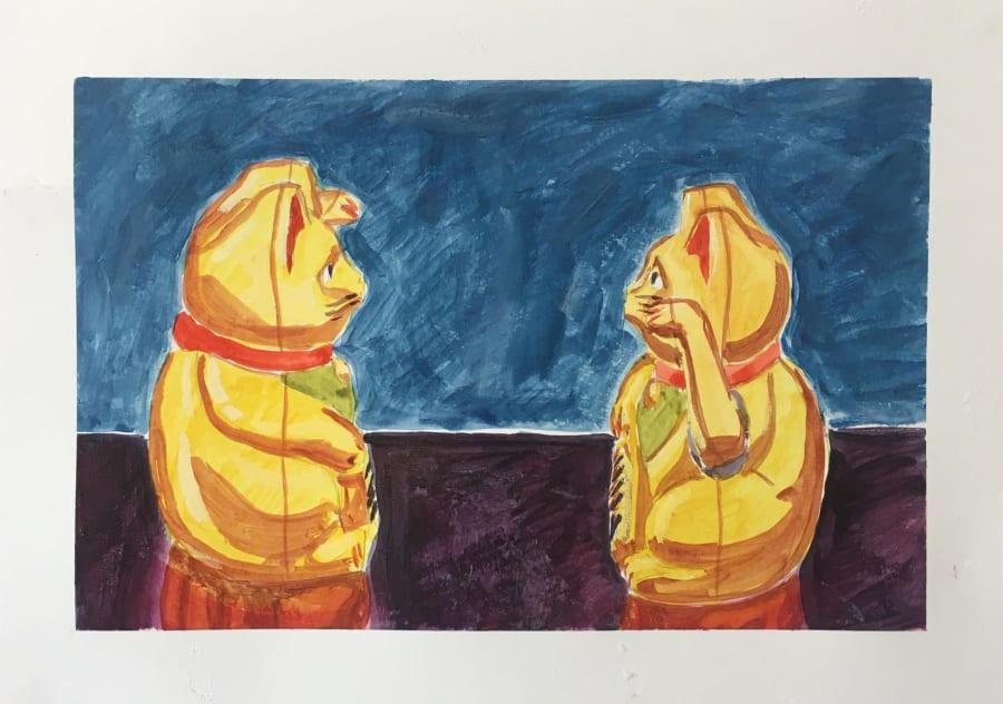Social Distancing Golden Cats