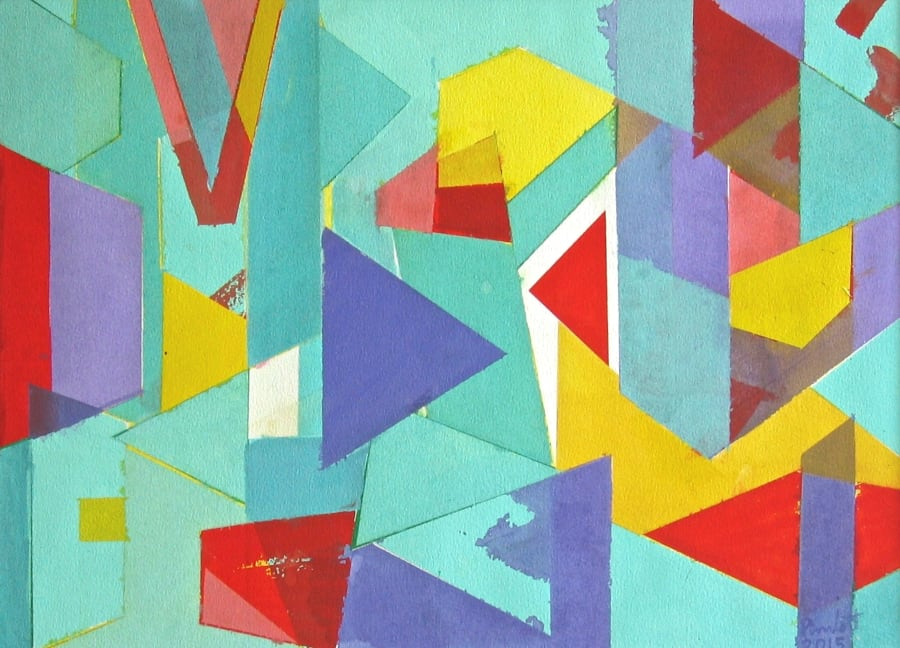 Untitled Coloured Shapes Over Blue