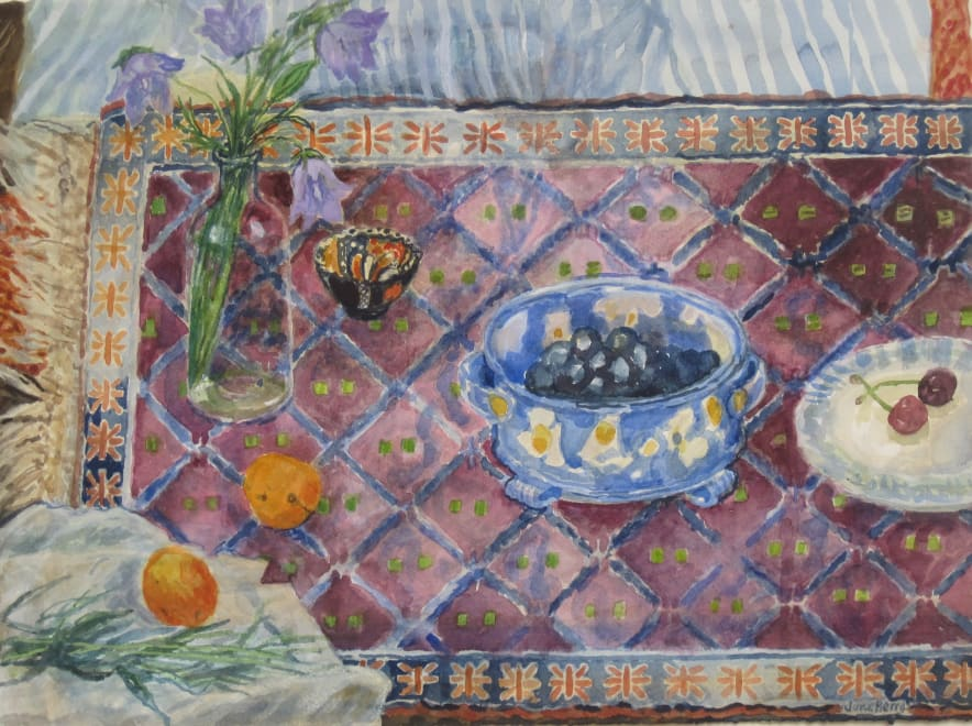 Two Apricots and Other Things on a Little Persian Rug