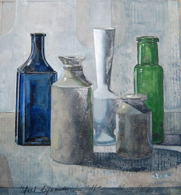 Still Life with Blue & Green Bottle