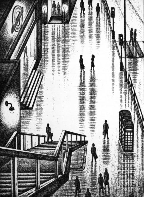 Rain Streets (Embankment Tube)