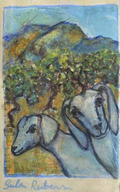 Two Goats in a Mountain Landscape