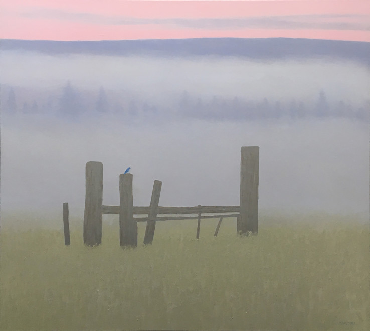 Dave Hall, Bluebird on a Fence Post, Harriman Ranch