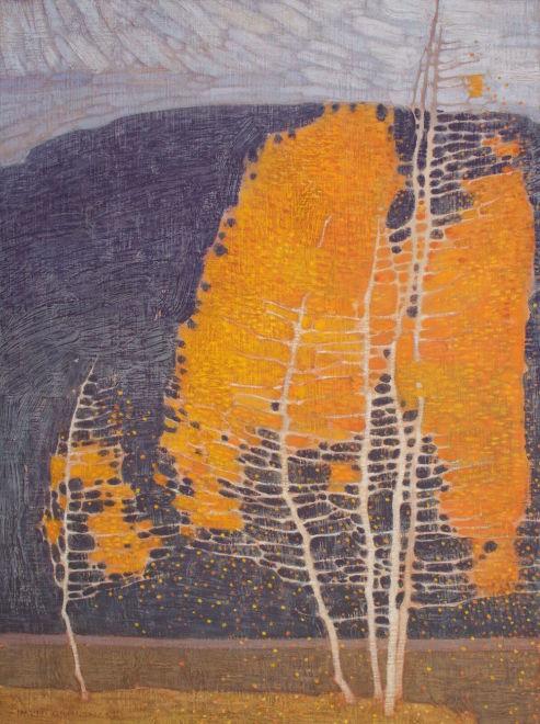 David Grossmann, Autumn Trees with Dark Hill