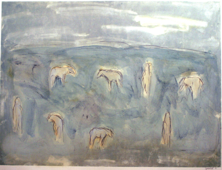Works on Paper by Theodore Waddell, White Horse Dream M1