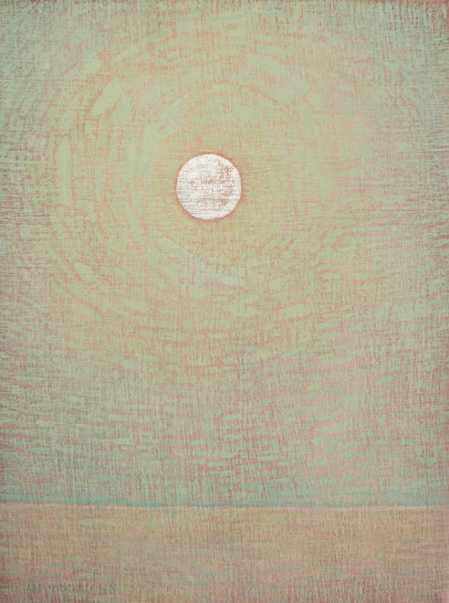 White Gold Moon and Pale Green Sky