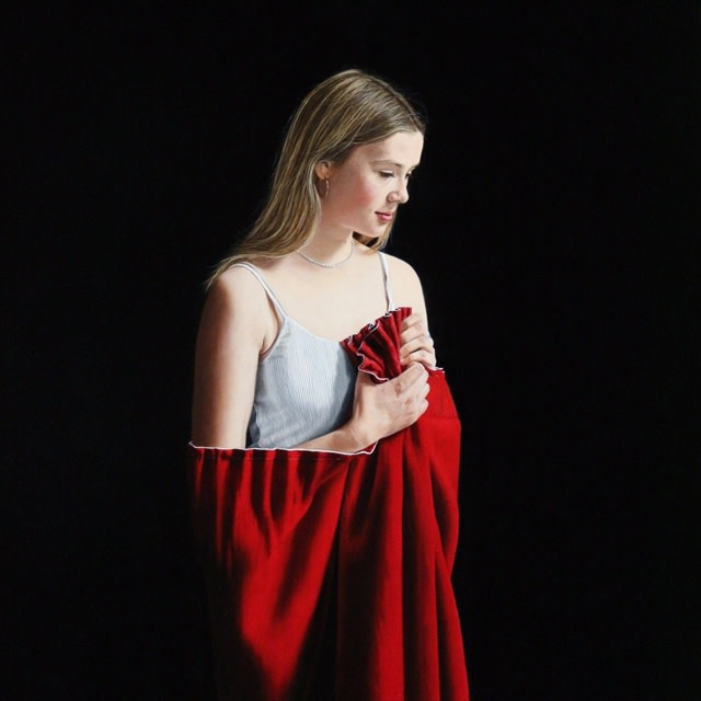 Charles Moxon, Sarah in a Stage Curtain, 2015