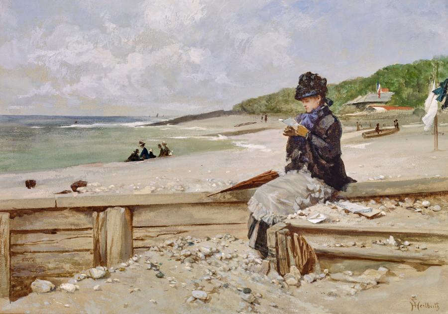 WOMAN READING AT THE SEASHORE