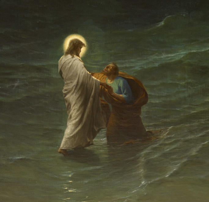 JESUS AND PETER ON THE WATER (JESUS ET PIERRE SUR LES EAUX )