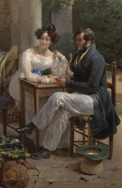 SELF-PORTRAIT OF THE ARTIST WITH HER HUSBAND ON THEIR WEDDING TRIP