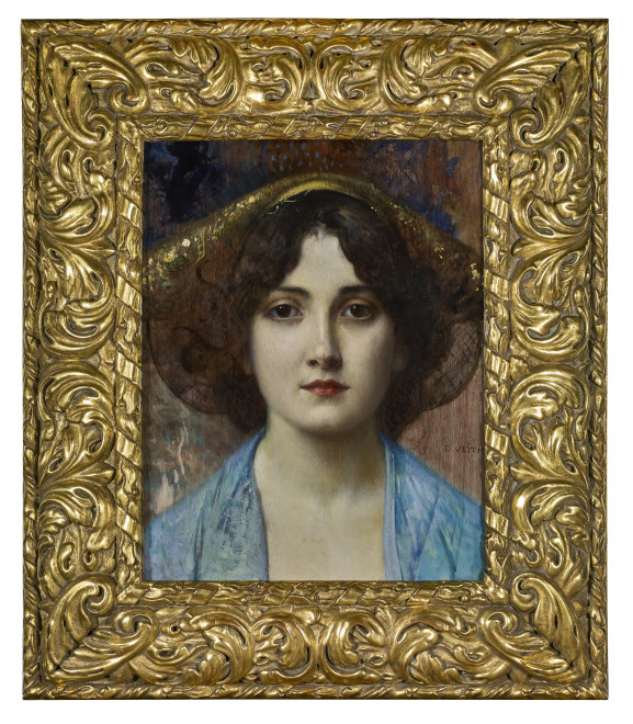 PORTRAIT OF YOUNG LADY  WITH BLUE BLOUSE