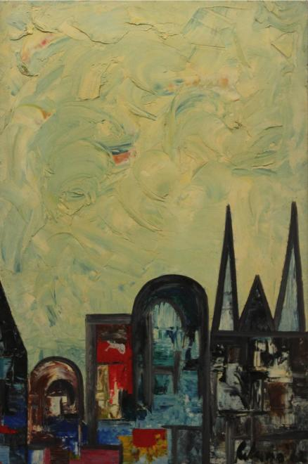 Lancelot Ribeiro, Untitled (Landscape with Spires), 1962