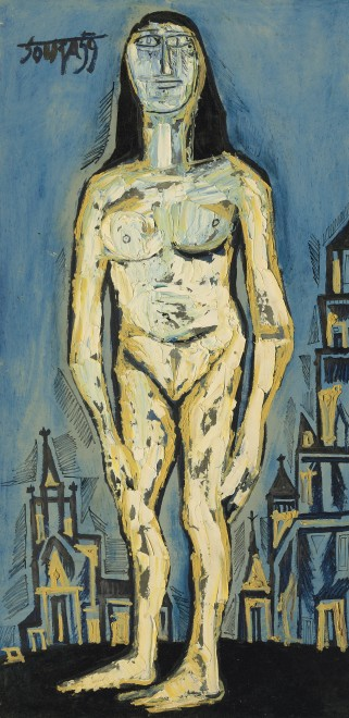 Francis Newton Souza, Standing Nude in City Background, 1959