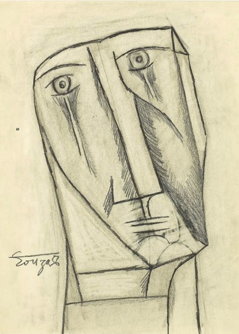 Francis Newton Souza, Study for Figure at the Base of the Cross, 1956