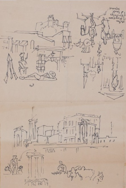 Maqbool Fida Husain, Untitled (Town sketches)