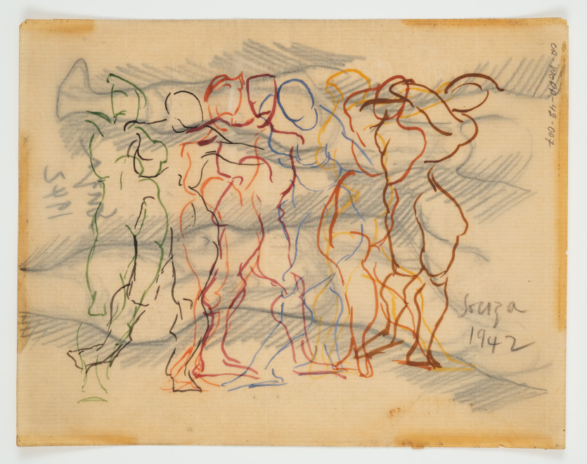 Francis Newton Souza, Untitled (Figure Composition) recto ; Untitled verso, 1942