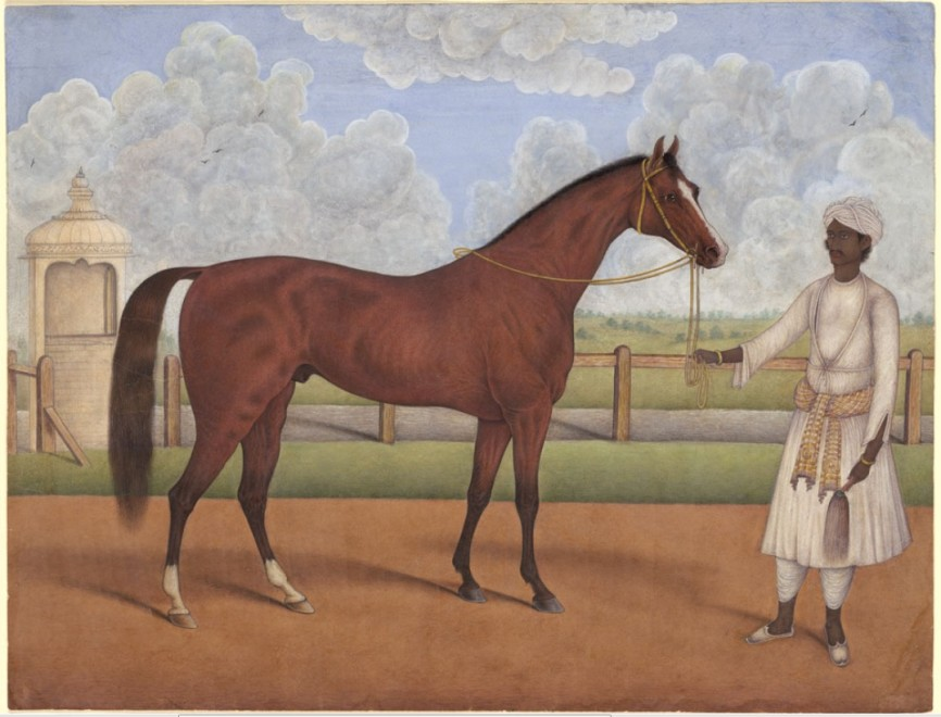 A Racehorse with its Groom, circa 1840