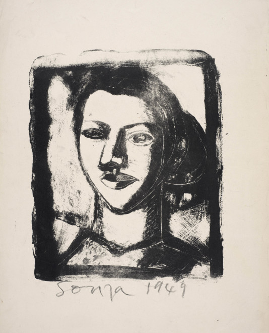Francis Newton Souza, Untitled - (Head of a Woman), 1949