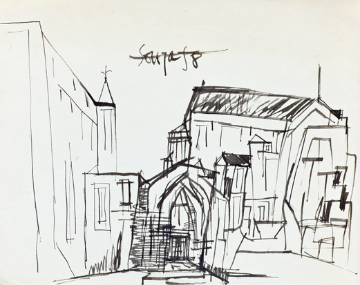 Francis Newton Souza, Untitled (Landscape with Church), 1958