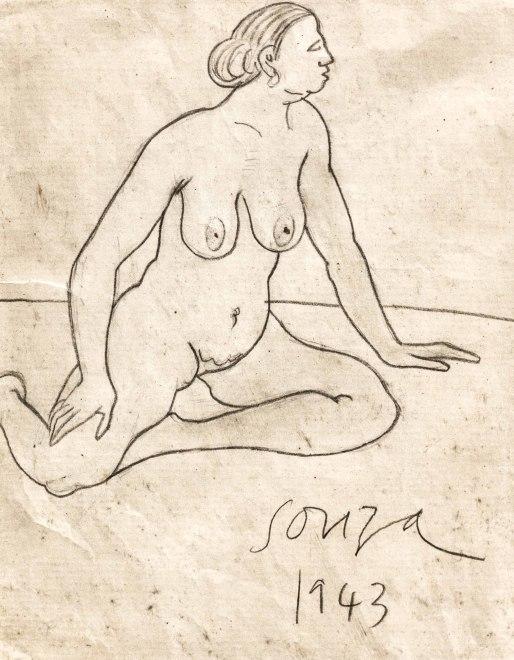 Francis Newton Souza, Untitled (Seated nude), 1943