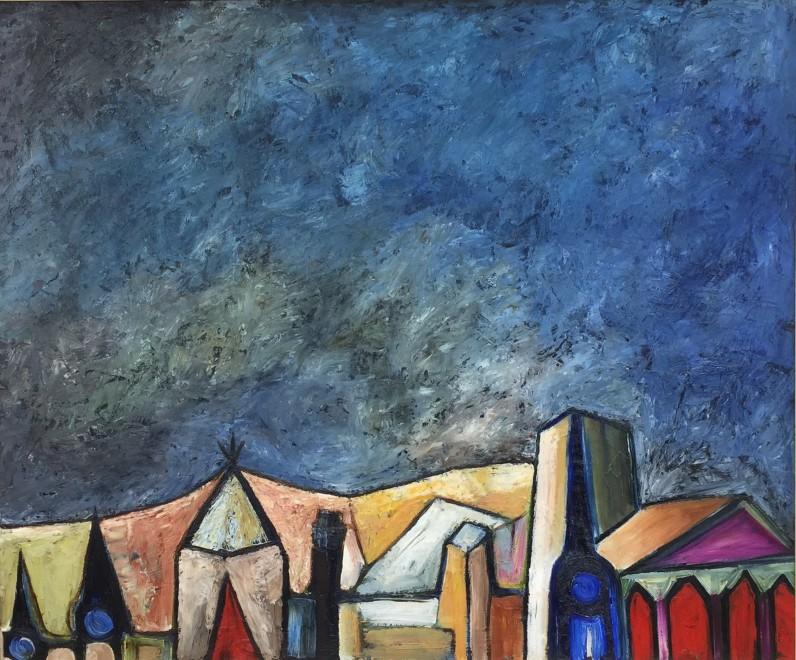 Sadanand K. Bakre, Untitled (Landscape with Blue Sky), 1961