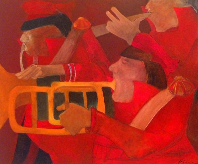 Krishen Khanna, Untitled (Bandwallas in Red), 2015