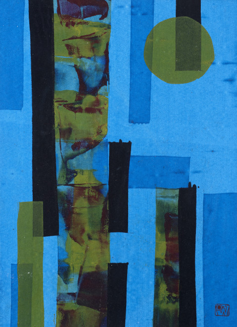 Ibrahim Wagh, Untitled (Blue abstract), c.1970