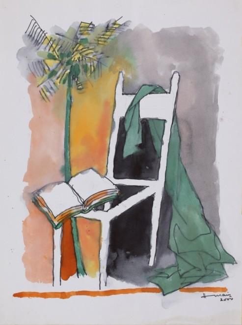 Maqbool Fida Husain, Untitled (Still Life with Chair and Tree), 2000