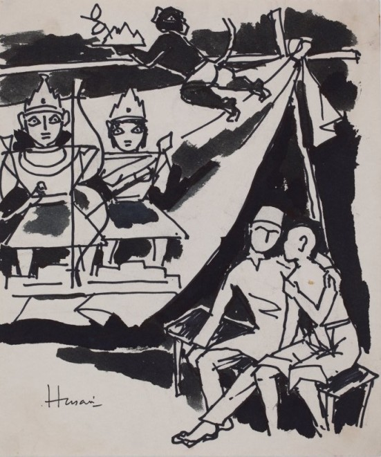 Maqbool Fida Husain, Untitled (Figures with Deities)