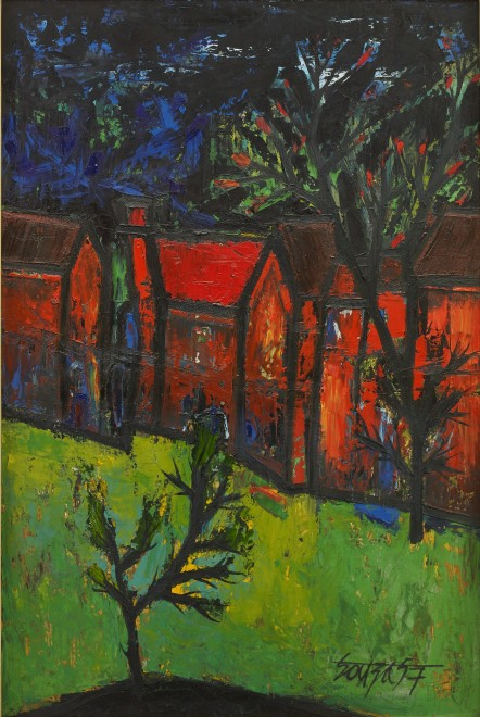 Francis Newton Souza, Red Houses with Front Garden, 1957