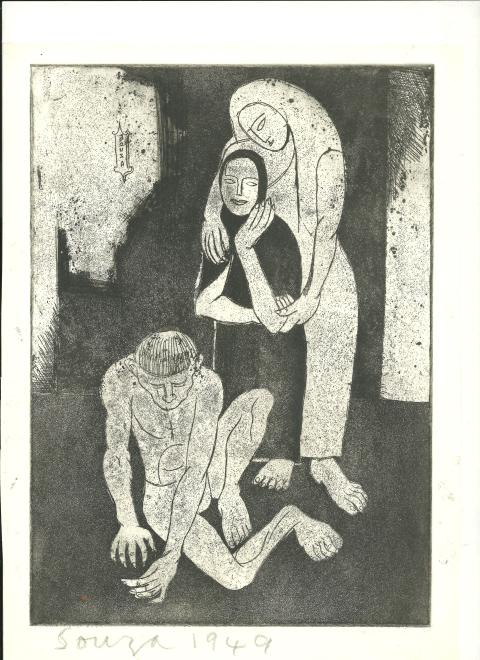 Francis Newton Souza, Untitled (Family Group -The Outcast), 1949