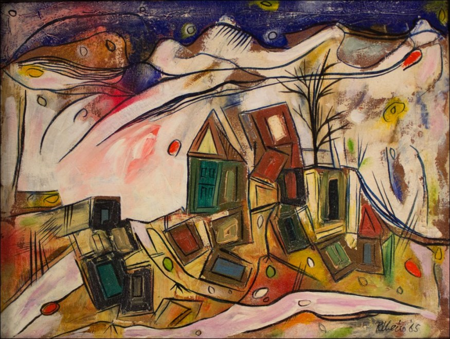 Lancelot Ribeiro, Landscape with Tumbling Houses, 1965