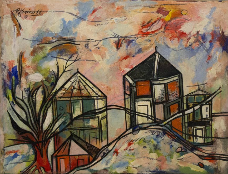 Lancelot Ribeiro, Untitled (Landscape with Trees and Houses),, 1966