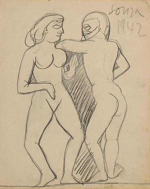 Francis Newton Souza, Untitled (Two nudes), 1942