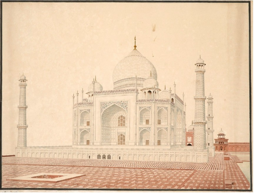 An Agra Artist, View of the Taj Mahal from the South-West, circa 1805
