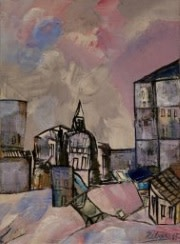 Lancelot Ribeiro, Untitled (Pink Townscape with Dome), 1968