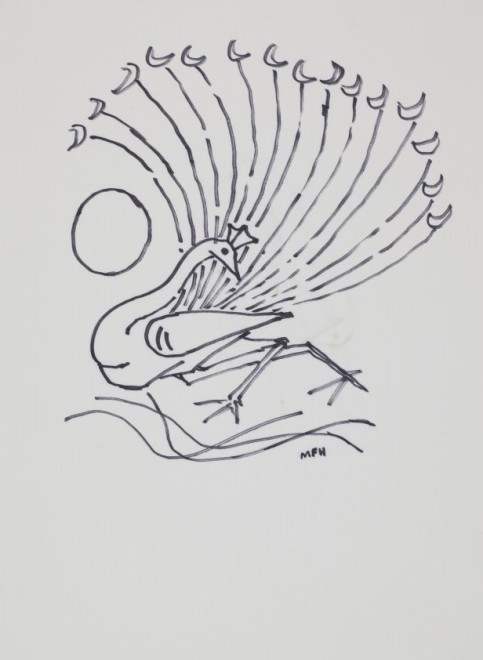 Maqbool Fida Husain, Untitled (Peacock with Sun)