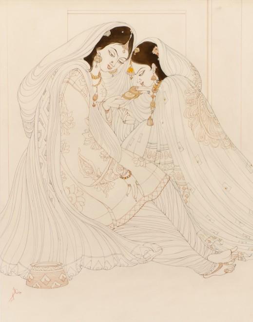 Abdur Rahman Chughtai, Mughal Princesses, c.1967