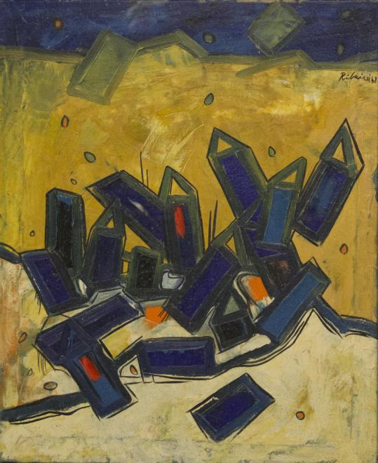 Lancelot Ribeiro, Untitled (Blue and Yellow Landscape), 1968