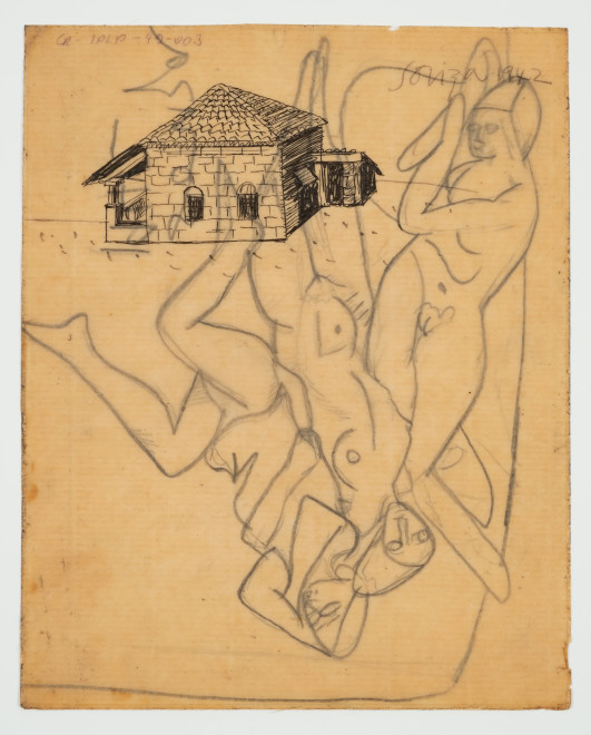 Francis Newton Souza, Untitled (House in Goa) recto ; Untitled (Nudes) verso, 1942