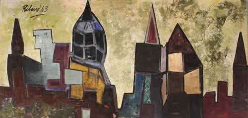 Lancelot Ribeiro, Untitled (Angular Townscape), 1963