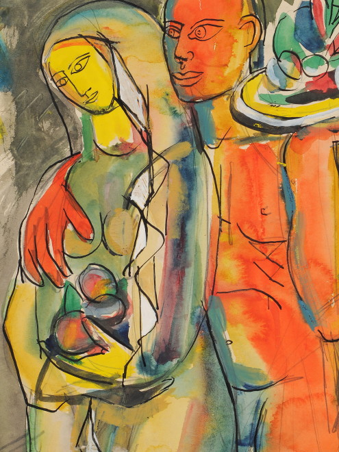 Francis Newton Souza, Untitled (Couple), 1949