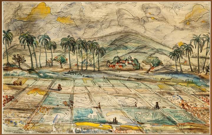 Francis Newton Souza, Rice Paddy in Goa, 1942