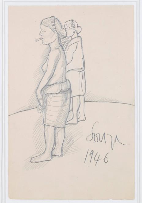 Francis Newton Souza, Untitled (Woman with bidi), 1946